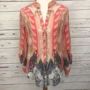 Tahari Button Down Long Sleeve Boho Blouse Medium